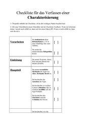 Checkliste Charakterisierung
