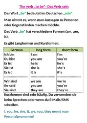 The verb be + Verneinung
