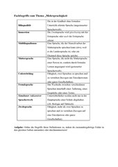 Fachbegriffe zum Thema Mehrsprachigkeit