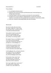 Klassenarbeit zum Thema Balladen