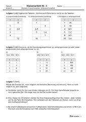 Mathematik Klassenarbeit Proportionale und Antiproportionale Zuordnungen