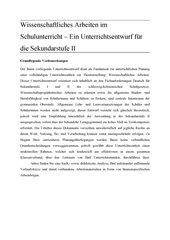 Wissenschaftliches Arbeiten im Schulunterricht – Ein Unterrichtsentwurf für die Sekundarstufe II
