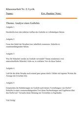 Lyrik- Klassenarbeit HS Kl. 9