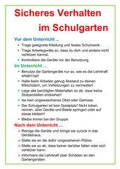 Sicherheitshinweise Schulgarten