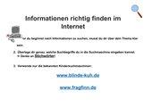 Plakat für das Nutzen von Kindersuchmaschinen /Rechercheaufgabe