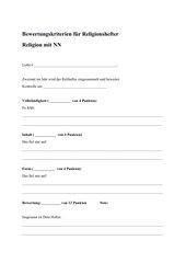 Bewertungskriterien für Religionshefter