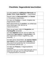 Checkliste Gegenstandsbescheibung Klasse 5/6