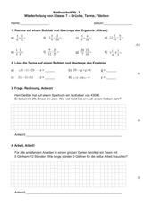 Klassenarbeit 1 -  Wiederholung von Klasse 7