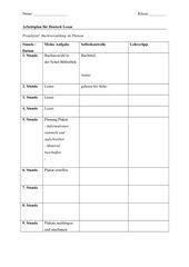 Arbeitsplan Deutsch Lesen Ganzschrift Projekt
