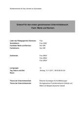 Unterrichtsentwurf für eine GUB/BUB in Werte und Normen