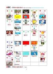 Alphabet mit Bildern - mit und ohne Artikel - Folien und Übung