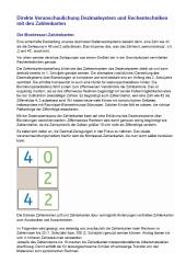 Direkte Veranschaulichung Dezimalsystem und Rechentechniken mit den Zahlenkarten