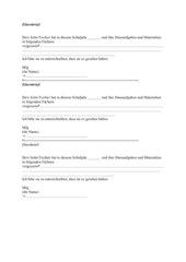 Elternbrief Vergessene Hausaufgaben