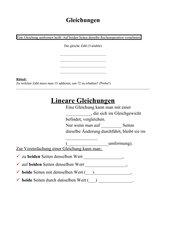 Gleichungen-Arbeitsblatt