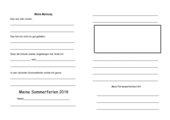 Meine Sommerferien - Schreibanregung