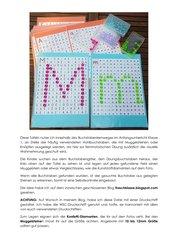 Übungsbuchstaben mit Muggelsteinen im Buchstabengitter legen (Druckschrift)