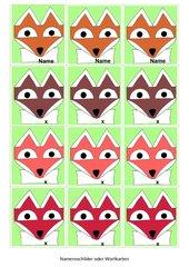 Fuchs-Kärtchen mit Textfeldern für Namenskarten oder andere Wortkarten