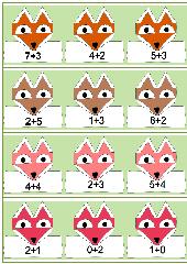 Rechenkärtchen mit stilisierten Fuchsköpfen