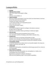 Leseportfolio, 5./6. Klasse Deutsch