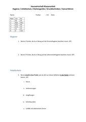 Klassenarbeit Hauswirtschaft BVJ