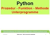 Python - Prozedur - Funktion - Methode - Unterprogramm