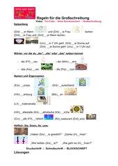 Großschreibung - 4 Grammatikregeln - mit Video - selbsterklärend für Lerner jeder Herkunft