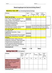 Bewertungsbogen Buchvorstellung