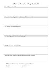 Lehrerreflexion Thema Fragen