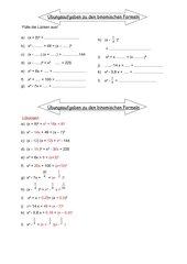 Binomische Formeln Übungen
