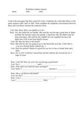 Worksheet indirect speech
