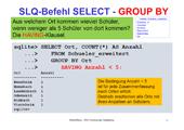 190 Datenbanken - SQLite - SELECT - weitere Klauseln – Mengenoperatoren