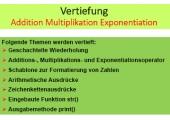 Python  - Vertiefung Wiederholung - Tabellen Addition Muliplikation Exponentiation