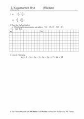 2. Klassenarbeit 10 A - Flächen
