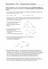 Klassenarbeit (Trigonometrie, Körper)