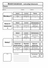Bewertungsbogen - mehrseitige Dokumente / Mappe