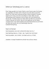 Kurzdiktat zur Schreibung von tz, z,zz