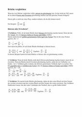 Brüche vergleichen- Anleitung ohne Übungsbeispiele