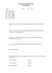 Klassenarbeit Kohlenhydrate
