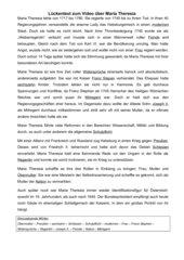Maria Theresia - Lückentext