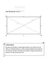 Gruppenpuzzle Eigenschaften Flächen Vierecke