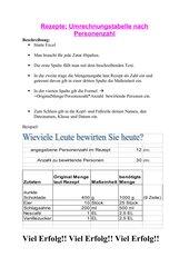 Umrechnungstabelle für Rezepte in Excel