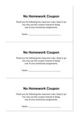 Hausaufgabengutschein Englisch (No Homework Coupon)