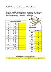 Multiplikationen mit zweistelligen Zahlen + LW