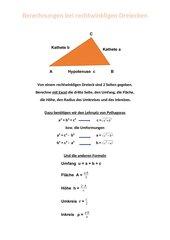 Berechnungen bei rechtwinkligen Dreiecken