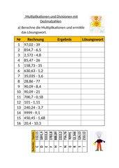 Multiplikationen und Divisionen mit Dezimalzahlen