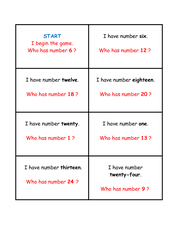 Numbers from 0 to 30 - Lesespiel