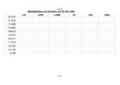 Multiplikationen und Divisionen mit 10, 100, 1000