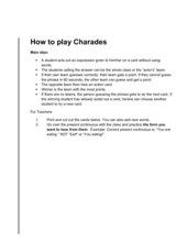 Charades Game for Present Continuous