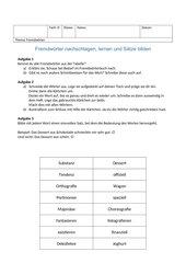 Fremdwörter nachschlagen, lernen und Sätze bilden