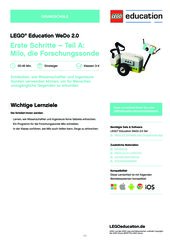 Erste Schritte – Teil A: Milo, die Forschungssonde. MINT-Material für LEGO® Education WeDo 2.0 (Klasse 3-4)